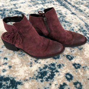 Born Purple Leather Booties